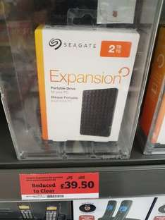 Seagate 2tb external hard £39.50 @ Sainsbury's Burnley