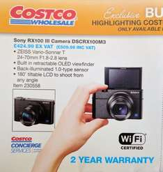 Sony RX100 III £434.98 in store (after £75 cashback) £509.98 + 2 yr warranty at Costco