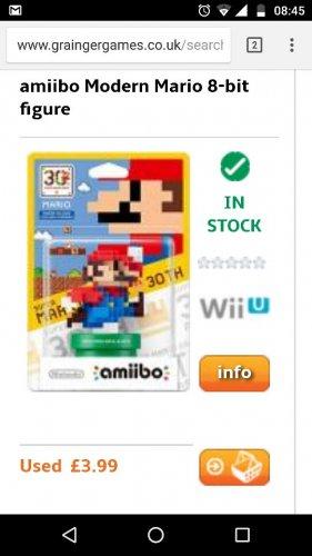 Mario 8 bit Amiibo, preowned at Grainger Games
