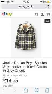 Joules Doolan Boys Shacket Shirt-Jacket in 100% Cotton in Grey Check £14.95 at Joules Ebay Outlet