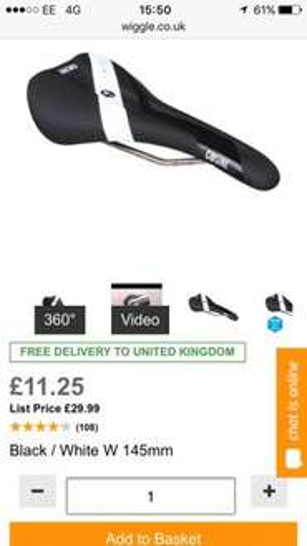 COSINE TI Endurance Road Saddle free delivery £11.25 @ Wiggle