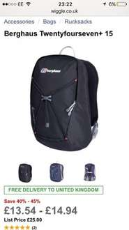 Berghaus Twentyfourseven+ 15 Bag £13.54 free delivery @ Wiggle