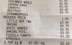 Broccoli scanning at £0.05 per KG at Tesco