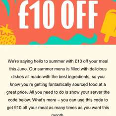 £10 off your meal at Jamie's (Jamie's gold club members) £30 minimum spend
