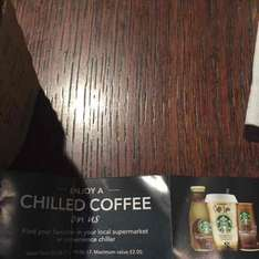 free chilled coffee up to 2 pounds when buy a drink in store from £1.25 at Starbucks
