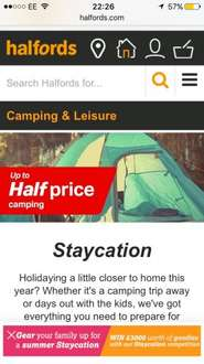 Upto 50% off camping items at Halfords free C&C
