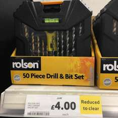 Rolson 50 pcs drill drivers and bits set half price at Tesco was £8 now £4