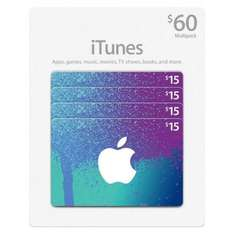iTunes 4 x £15 gift cards £49.49 instore at Costco warehouse