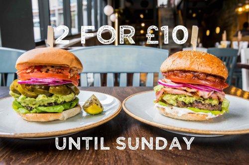 2 burgers for £10 at Handmade burger co