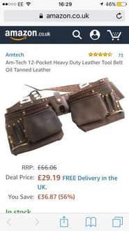 Am-Tech 12-Pocket Heavy Duty Leather Tool Belt Oil Tanned Leather Free delivery £29.19 - amazon