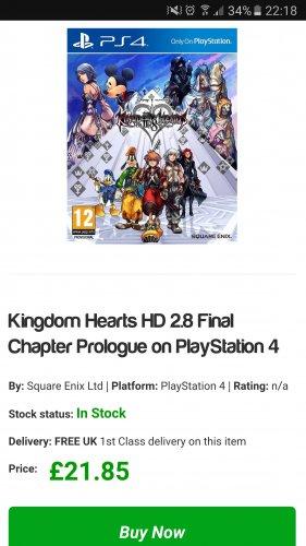 Kingdom Hearts HD 2.8 Final Chapter Prologue (PS4) £21.85 @ Simplygames
