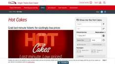 Virgin East coast trains hot cakes deals from £5