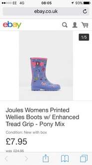 Joules children's Printed Wellies Boots w/ Enhanced Tread Grip - Pony Mix £7.95 Joules Outlet on eBay