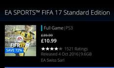 Fifa 17 ps3 only £10.99 from playstation store until 9/6/17 @11.59pm