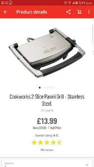 Cookworks 2 slice Panini Grill- Stainless £13.99 @ Argos