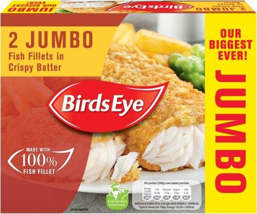 Birds Eye Jumbo Pollock Fish Fillets in Batter (2 = 400g) was £2.75 now £1.50 @ Sainsbury's