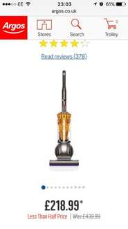 Dyson DC41 Mk2 Multifloor Bagless Upright Vacuum Cleaner Limited stock £218.99 @ Argos