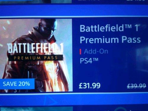 Battlefield 1 Premium pass £31.99 PSN