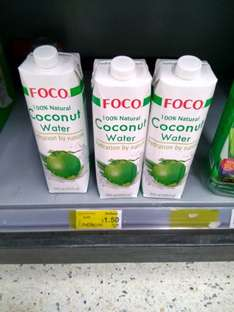 Foco 100% natural coconut water 1liter £1.50 (Reduced from £2.75) instore @ ASDA Hounslow