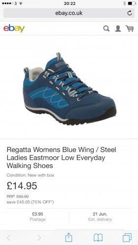 Regatta Womens Blue Wing / Steel Ladies EastmoorLow Everyday Walking Shoe Condition: New with box £14.95 RRP£60.00  save  £45.05 (75% OFF*) @ Regatta eBay store
