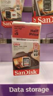 Sandisk Ultra 16GB SD Card @ Sainsburys Instore - Kings Lynn Possibly Nationwide