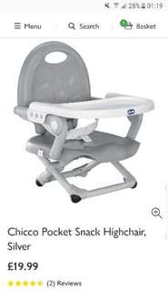 Chicco Pocket Snack Highchair £19.99 John Lewis free click & collect with £30 spend or £3.50 delivery