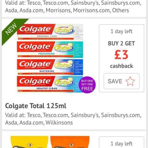 Colgate Toothpaste (125ml) £1 @ CheckoutSmart / Asda