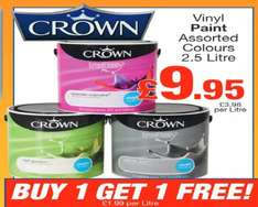 Crown Vinyl Paint 2 * 2.5 ltr for £9.95 @ Boyes