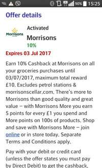 10% cash back at Morrisons with your Halifax card