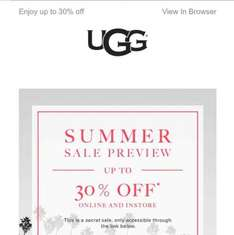 UGG sales up to 30% off online and store