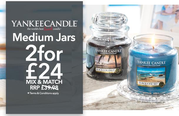 2 Medium Yankee Candle Jars for £24