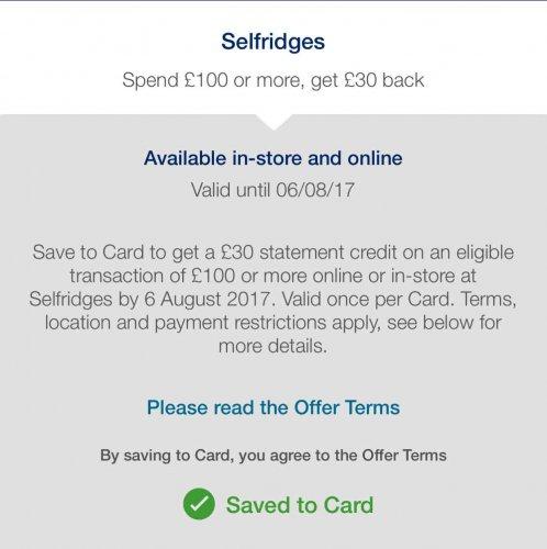 Amex offer: Selfridges spend £100 or more, get £30 back @ American Express