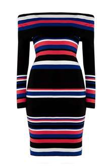 Multi Coloured Stripe Bardot Knitted Dress down from £42 to £10 at Wallis
