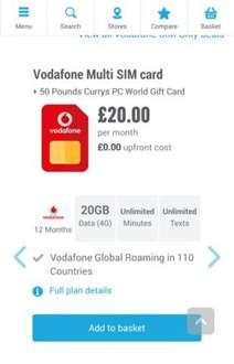 Vodafone Sim Only Deals & Contracts | Carphone Warehouse £20pm / 12 m £240