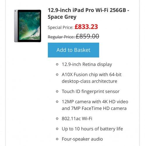 IPad Pro 2  12.9 - £833.23 @ KRCS
