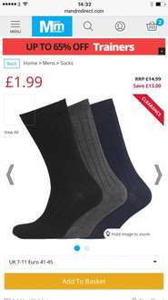 Fox & King Mens Three Pack Socks Navy/Black/Dark Grey Code: IN6XF13 Colour: Navy/Black/Charcoal Product Detail: Fox & King triple pack of ribbed socks. 78% cotton 20% polyester 2% elastane. Comfort rib trim. £1.99 @ M and M Direct (£4.49 delivery)