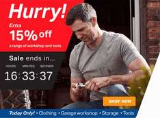 "Extra 15% OFF a SELECTION of WORKSHOP AND TOOLS TODAY ONLY 18/06 @ Halfords ie Advanced 18 Piece Socket Set 3/8"" was £50 now £10.62"