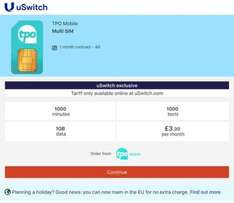TPO 1000  minutes 1000  texts 1GB  data £3.99  per month Order from:  The People's Operator via Uswitch