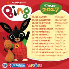 Meet Bing and Flop various dates around the country at Toys R Us and The Entertainer - free stickers and Bing Ears!