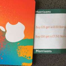 iTunes codes £3.50 bonus on £25 or £7.50 bonus on £50 card @ Morrisons