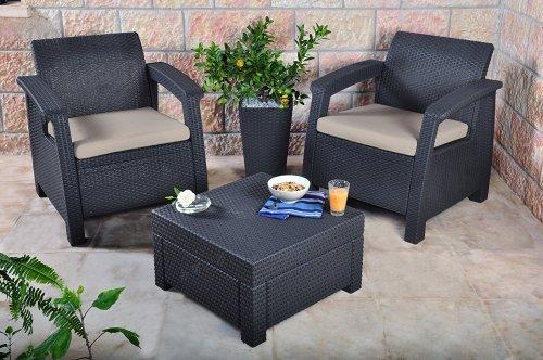 Keter Corfu Outdoor Rattan Balcony Garden Furniture Set, 2 Seater - Graphite with Mushroom Cushions £99.99 @ Amazon