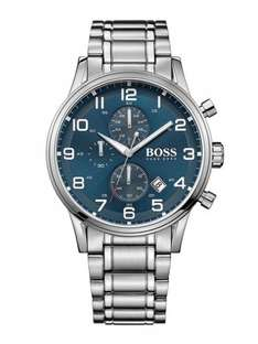 Hugo Boss Aeroliner Blue Face Stainless Steel Chronograph Watch at Ernest Jones £229
