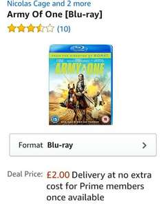 Army of One blu ray £2.00 (Prime) / £3.99 (non Prime) at Amazon