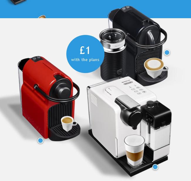 Nespresso machnes on subscription inc coffee £18 p/m 12 months £216