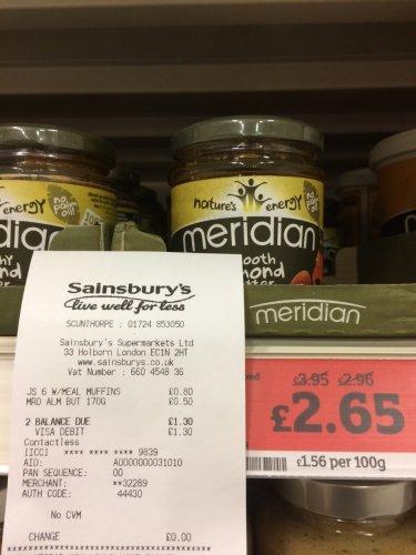 Meridian Smooth Almond Butter 170g 50p @ Sainsburys