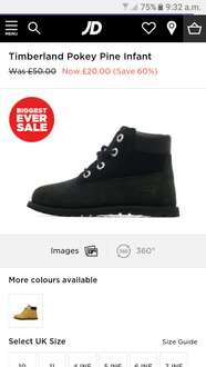 Infant black timberland boots £20 JD Sports