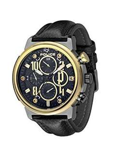 Police Men's Quartz Watch with Black Dial Chronograph Display and Black Leather Strap - £50.70 @ Amazon