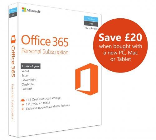 Argos; Microsoft Office 365 Personal - 1 User 237/9801 - £29.99