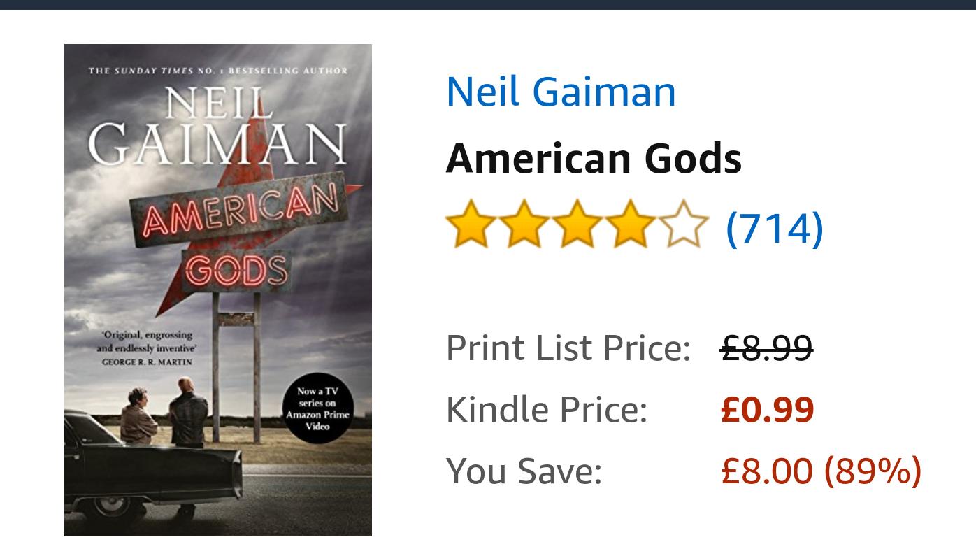 American Gods (Kindle Edition) 99p @ Amazon