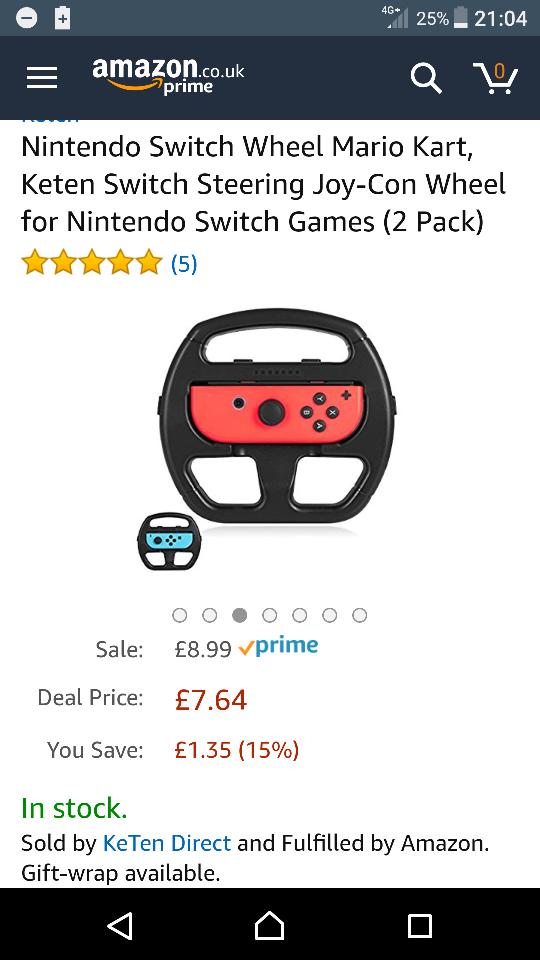 Nintendo switch joy-con wheel 2pk £7.64 for the next 30mins then goes back to £8.99 @ amazon